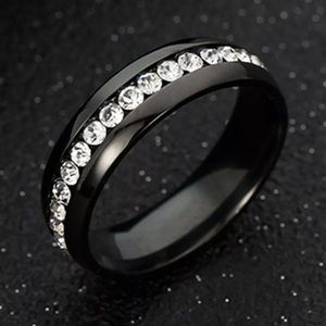New 8MM Women Ring Stainless Steel Black Sz 7,9,10